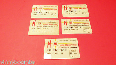 Vintage Phillips 66 Credit Card Lot Of 5 1968-69 Gas Historical Collectors Items