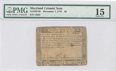 1775, Dec 7, $8 Dollars, Maryland Colonial Note PMG 15 Choice Fine F#: MD-90