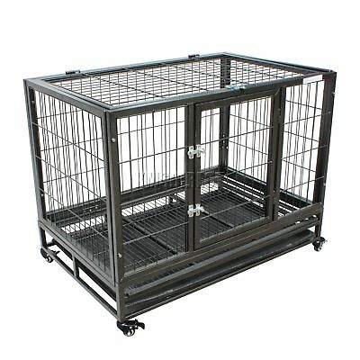 FoxHunter Heavy Duty Pet Dog Puppy Training Cage Crate Carrier Metal MPC-02L New