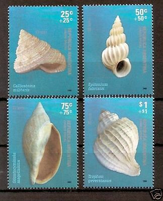 argentina 2008 coquillages shells conchas marine 4v mnh