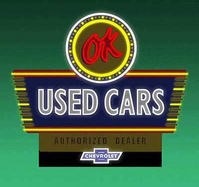 OK Used Cars Animated Billboard Sign for N HO Scale Miller 5482
