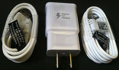 Adaptive Fast Wall Charger + 2x 4ft Cable OEM For Samsung S6 S6 Edge Note 5