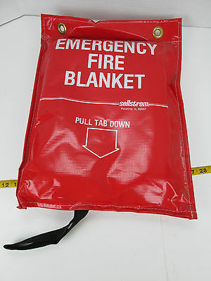 Sellstrom Emergency Fire Blanket Red Hanging Bag Quick Access Safety ProtectionT
