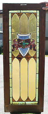 cir.1900s Architectural Antique Leaded Jeweled Stained Glass Window