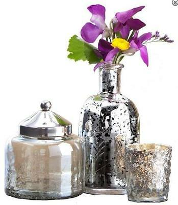 Silver Mercury Glass Set, 3 PC, Etched Vase, Votive Candle Holder, Jar with Lid