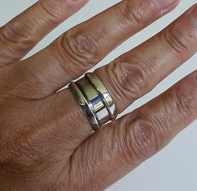 Mexico 925 Sterling Modernist Wide Band Ring Sz9 Taxco TR-141 9 7.1Grams