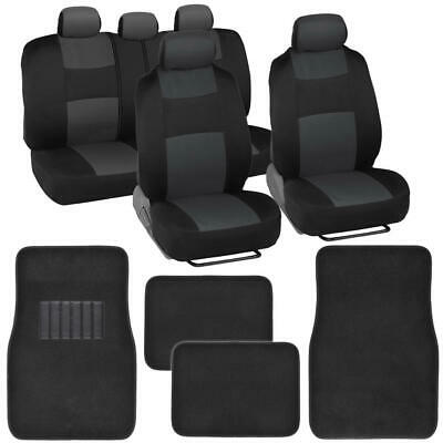 Black/Dark Grey Two-Tone Accent Car Seat Covers w/ Balck Floor Mats