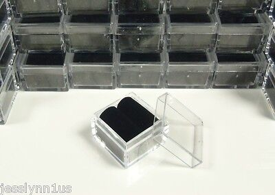 50-pc 1x1 Square Acrylic Gem Box/Jar Black insert storage display gemstone