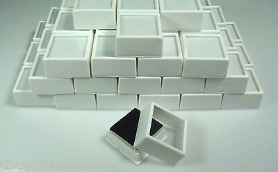 "50pc White 1-1/2""x3/4"" Square Glass Top Gem Box storage/display gold/gems/coins"