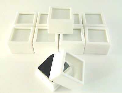 "10 PC 1-1/16x3/4"" WHITE SQUARE Glass Top Gem Box storage/display gold/gem/coin"