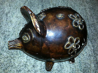 Large BROWN PIGGY BANK Money Coin VINTAGE FIGURINE Flowers COLLECTIBLE Mexico