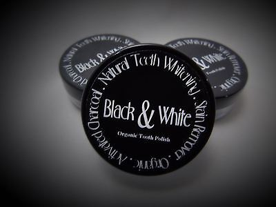 Activated charcoal natural teeth polish by Black & White Organics - sample pot