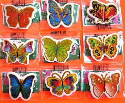 Bulk Lot x 10 Mixed Girls BUTTERFLY Rubber Erasers Party Favors Novelty NEW