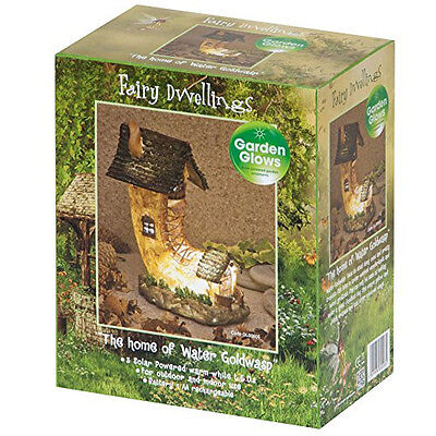 Garden Glows Solar Powered LED Fairy House Boot Ornament Water Goldwasp
