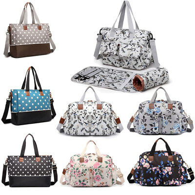 Mummy Baby Nappy Diaper Changing Maternity Shoulder Bag Set Wipe Clean Polka Dot