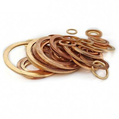M5,6,8,10,12,16-48 Solid Copper Crush Washer Gasket Seal Ring Oil Brake Sealing