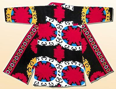 Vintage Traditional Bright Uzbek Natural Cotton Robe Chapan Suzani Pattern A6779