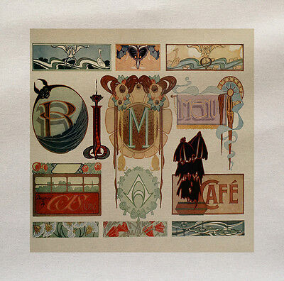 Art Nouveau Letters Printed Fabric Panel Make A Cushion Upholstery Craft