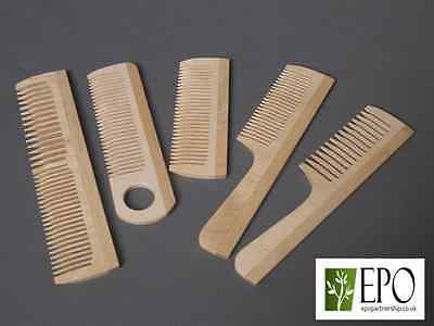 Wooden Natural Comb Hair Tootch Thin Thick With A Handle Set