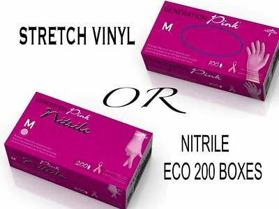 GENERATION PINK Quality Stretch VINYL or NITRILE Latex & Powder FREE GLOVES