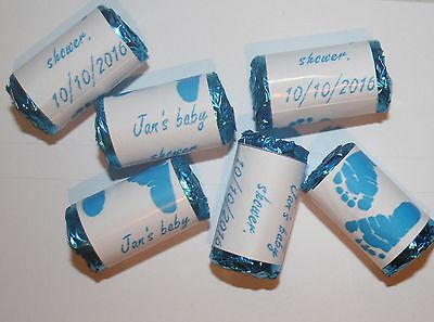 Personalised Baby Shower  Love Hearts Sweets Party Bag Fillers BLUE FEET