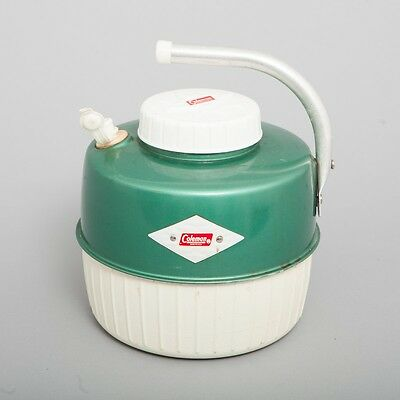 Vintage Coleman Green & White 1 Gallon Water Jug Thermos Cooler Folding Handle