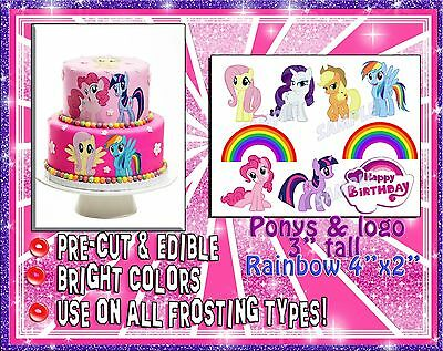 My Little Pony edible cake stickers! Fondant paper ideas easy topper characters