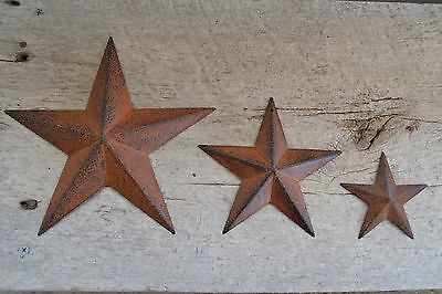 "Set of 3 ~  8"" / 5.5""/ 3.5"" RUSTY BLACK BARN STARS Metal Primitive Country 5 1/2"