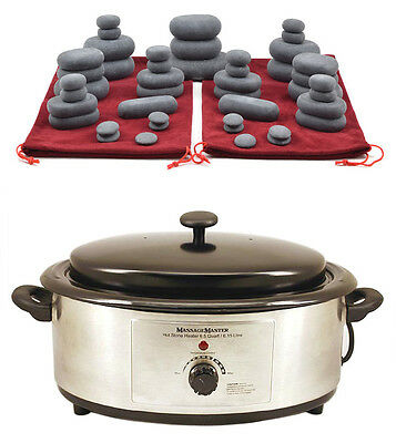 HOT STONE MASSAGE KIT: 45 Basalt Stones in 2 Drawstring Bags + 6.5 Quart Heater