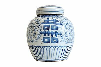 """Blue and White Porcelain Double Happiness Ginger Jar Lotus Motif 6"""""""