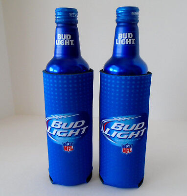 New! 2 Authentic NFL Bud Light Beer 16 oz Slim Bottle Can Koozie Coozie Coolie