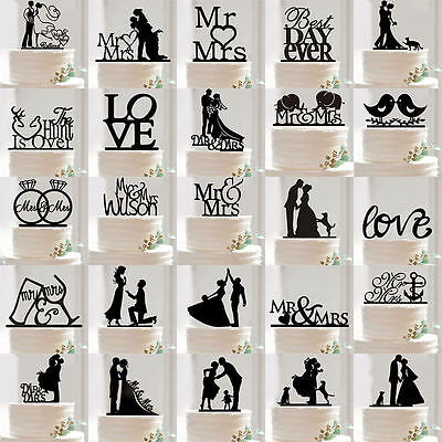 Hot Funny Acrylic Bride and Groom Wedding Love Cake Topper Party Favors Decor