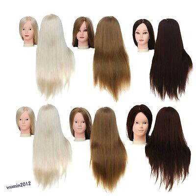 """22"""" Synthetic Hair Salon Makeup Hairdressing Cut Head Mannequin Training+Clamp"""