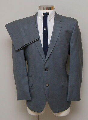 Vintage 1960s Mens 42R Scholnick's Grey with Blue Stripe Wool Suit