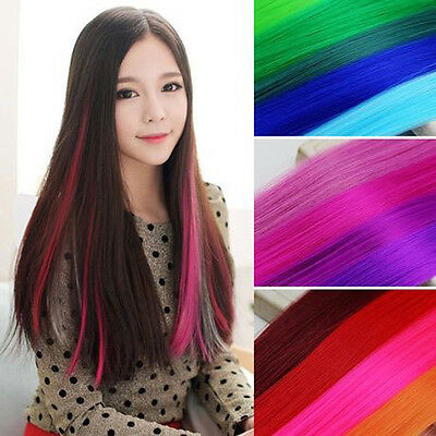 Women Colorful Long Straight Synthetic Clip in on Hair Extensions Piece