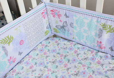 4pc Baby Cot Bumpers Set - Silver Butterfly