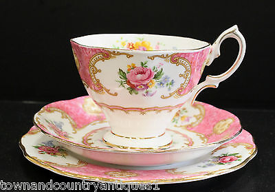 ROYAL ALBERT LADY CARLYLE Made in England trio set. Cup, saucer, plate. Pristine