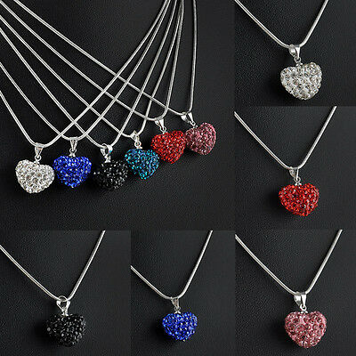 Fashion Crystal Heart Silver Plated Necklace Pendant Snake Chain Jewelry GIft