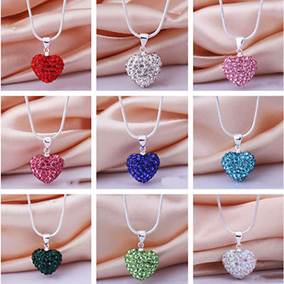 Fashion Full Crystal Heart Silver Plated Necklace Pendant Snake Chain Jewelry