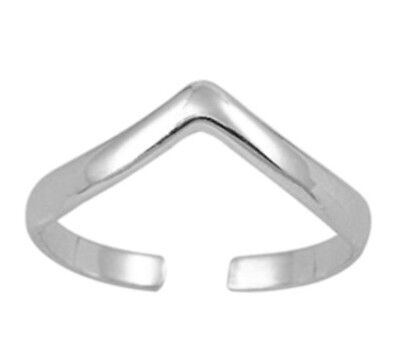 100% GENUINE Solid 925 Sterling Silver Stamped Wishbone Adjustable Toe MIDI Ring