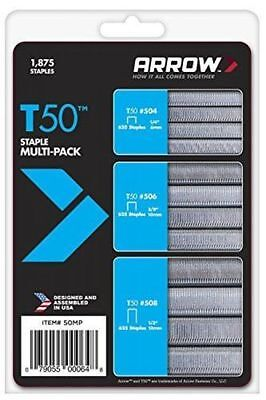 STAPLES Arrow A50MP T50 Staples Assorted Multi Pack of 1875