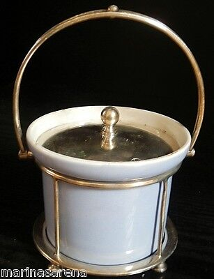 George Jones Crescent China powder blue condiment pot in silver plated mount