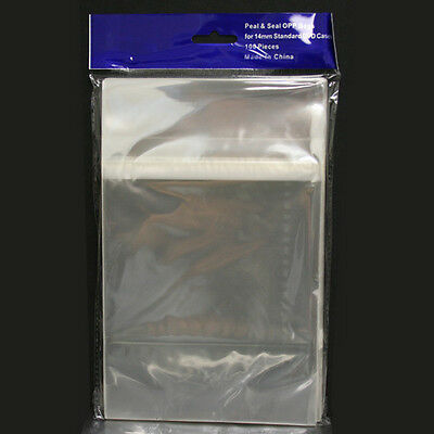 100 Clear Resealable OPP Plastic Bags Wrap for 14mm Standard DVD Cases