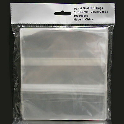 100 Clear Resealable OPP Plastic Bags Wrap for 10.4mm Standard CD Jewel Cases