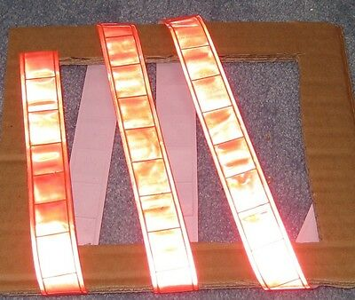 Orange gloss sew on REFLECTIVE TAPE PVC 3'x1""