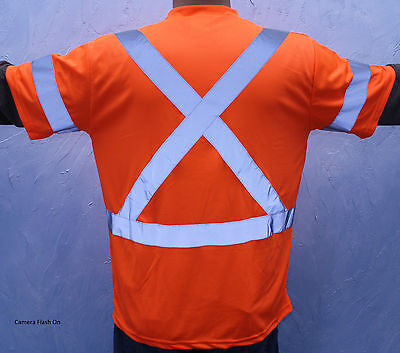 Size M Orange Retro Reflective Safety TSHIRT With Pocket CSA Z96 CLASS 3