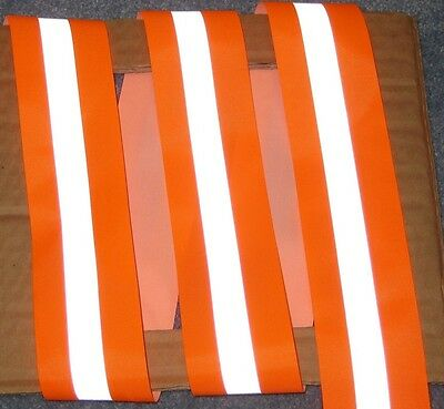 SILVER Orange REFLECTIVE TAPE sew on material 1 yardX2""