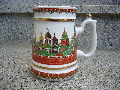 "Russian beermug , "" a kind of LOBOK  Gzhel "" , russischer Bierkrug , folk art"