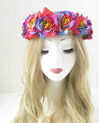 Rainbow Rose Flower Headband Hair Crown Festival Boho Pride Band Garland Vtg 160