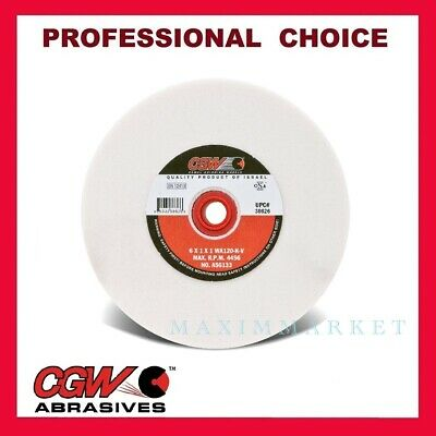 "6"" x 1"" x 1"" CGW White Aluminum Oxide Grinding Wheel for Bench Grinder Grit 120"